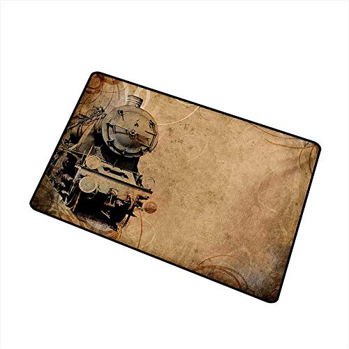 (BeckyWCarr Steam Engine Commercial Grade Entrance mat Antique Old Iron Train Aged Sepia Grunge Style Design Industrial Theme Artsy Print for entrances, garages, patios W29.5 x L39.4 Inch,Brown)
