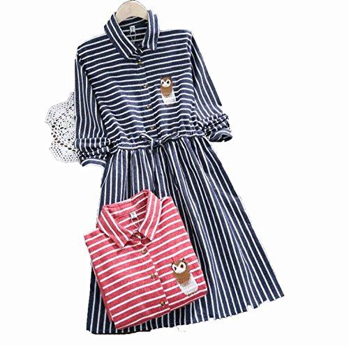 2018 Spring Autumn Women Owl Embroidery Dress Casual Striped Turn-Down Neck Elastic Waist Dresses,Blue,L - Neck Satin Caress