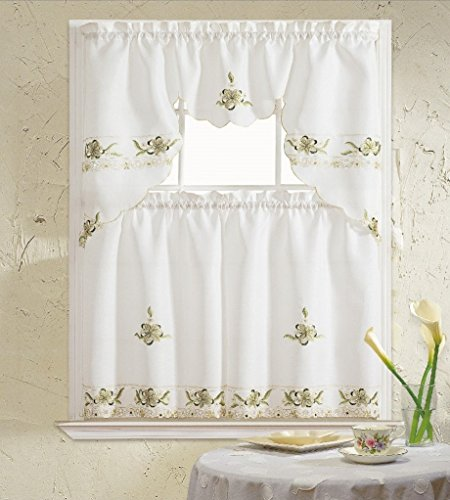 B H Home Aster Floral Embroidered 3 Piece Kitchen Curtain Window Treatment Sage Buy Online In Guernsey At Guernsey Desertcart Com Productid 23380666