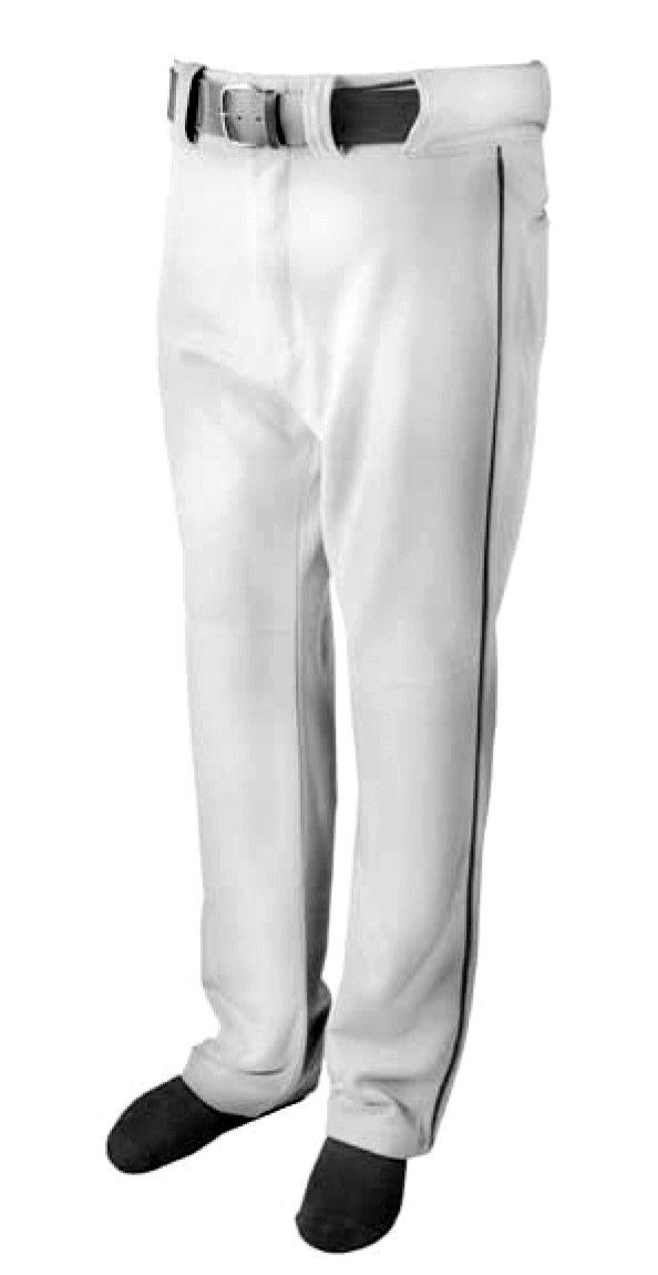 新しいMartin野球ソフトボールホワイトベルトループパンツブラック配管大人用S L ( al ) B01D3JAL6W