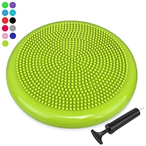 Trideer Air Stability Wobble Cushion with Free Pump, 34cm Extra Thick Core Balance Disc, KIDS Wiggle Seat, Great for Improving Core Strength & Relieving Back Pain (34cm Yellow (Wiggle Seat Red)