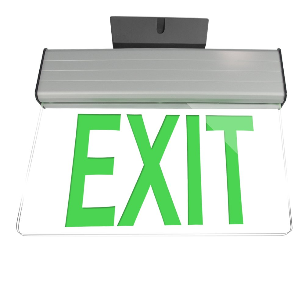 eTopLighting [1 Pack] Edge Lit Exit Sign LED Light Panel, Green Lettering, Battery Backup, Transparent See Through, Mount on Wall and Ceiling, Rotary Surface Mounting, AGG2133 by eTopLighting (Image #2)