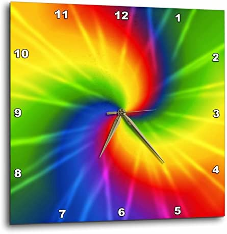 3dRose Rainbow Tie Dye Colorful Art – Wall Clock, 15 by 15-Inch DPP_123363_3