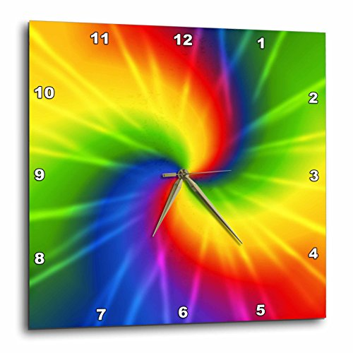 Cheap 3dRose dpp_123363_2 Rainbow Tie Dye Colorful Art Wall Clock, 13 by 13-Inch