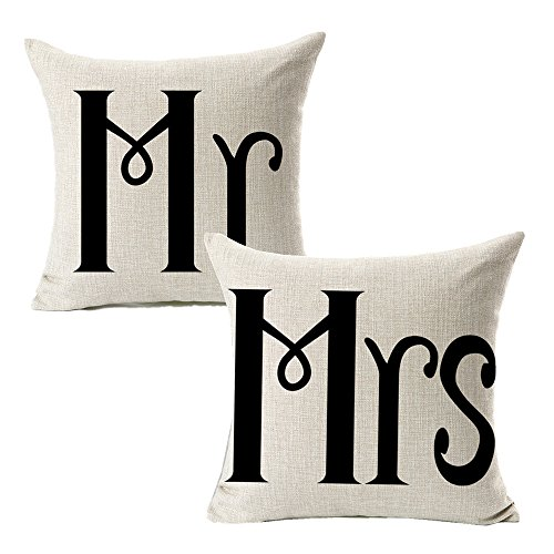 All Smiles Cotton Linen Mr Mrs Home Decor Throw Pillow Case Cushion Covers Pillowcase for Couples Wedding Decorative Square Couch Sofa 18x18,Set of 2 -