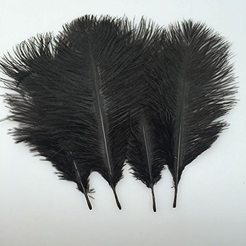 20pcs Natural 10-12inch(25-30cm) Black Ostrich Feathers Plume for Wedding Centerpieces Home Decoration - Ostrich Feathers Hats Crafts