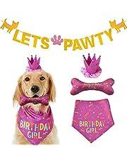 Dog Birthday Bandana Large Dog Birthday Hat Happy Birthday Dog Bone Toy Dog Party Set Pet Happy Birthday Party Suppliers Dog Birthday Banner Scarf Birthday Accessories and Pet Birthday Party Decorations Pink