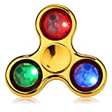 SigmaGo LED Light Fidget Spinner with Replaceable Batteries - Zinc Alloy Glow Metal Finger Spinner - Durable Tri-spinner Toy for Autism ADHD Anxiety Stress Relief-Multiple Shining Modes (Gold)