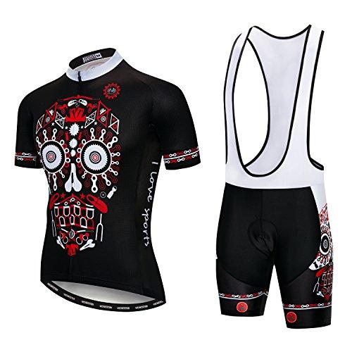 Men's Cycling Jersey Set Men Bike Jerseys and bib Shorts with Gel Paded S-5XL, Breathable Quick-Dry (2# Black Bike Skull Bib Set XXXL)