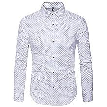 Men's Slim Fit, Polka-Dot Long Sleeve Shirt