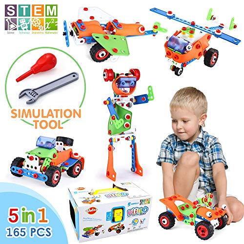 VATOS STEM Building Blocks Kit 165 Piece Creative Construction Engineering Plastic Building Toy Sets for Ages 5 6 7 8 9 Year Old Boys & Girls   Best Toy Gift for Kids Birthday   Top Blocks Game