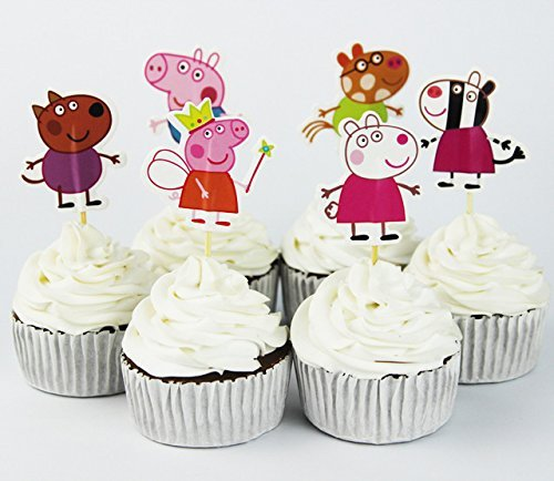 Price comparison product image Pack of 24 Peppa Cupcake Topper Picks Boy Children Party Decoration Kid's Birthday Party Decoration Supplies