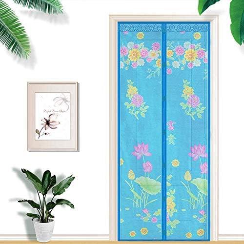 蚊帳 カーテン自動マグネットフライ昆虫スクリーンドア、ドア用蚊帳、強力なマグネットフィット、超微細で侵入不可能なメッシュ、蚊の侵入を防ぐ蚊のドア,ブルー,90*200cm,Blue,85*205cm