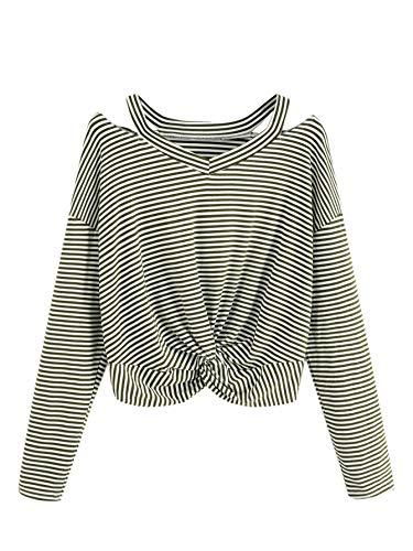 - Verdusa Women's Long Sleeve Cut Out Twist Front Striped Crop Tee Top Green M