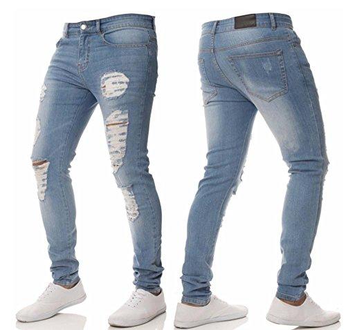 Skinny Uomo Fit Aderenti Design Azzurro Pantaloni Da Elegante Dal Oneforus Jeans Denim Strappati IpXxv1w5vq