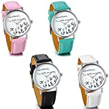 "JewelryWe Female Women Ladies Girls ""Whatever, I'm late anyway"" Love Gift Leather Strap Watches Quartz Wrist Watch"