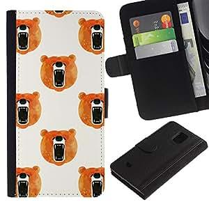 iBinBang / Flip Funda de Cuero Case Cover - Rugido Naranja Blanco - Samsung Galaxy S5 Mini, SM-G800, NOT S5 REGULAR!