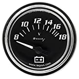 Equus 7268 2'' Voltmeter, Chrome with Black Dial