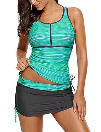 Lookbook Store Women's Zip Front Racerback Tankini