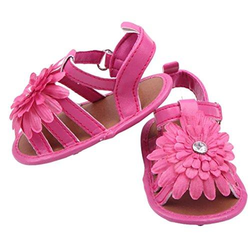 Zapatos de bebé,Xinantime Sandalias del Niños de Flor Zapatos Recién Nacidos (11, Blanco) Rosa Caliente