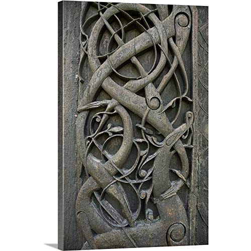 Canvas on Demand Premium Thick-Wrap Canvas Wall Art Print Entitled Deer Eating Yggdrasil, The World Tree. Viking Carving. Urnes, Norway ()