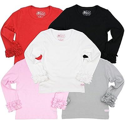 RuffleButts Little Girls Undershirt - Extra Soft Long Sleeve Layering Tee