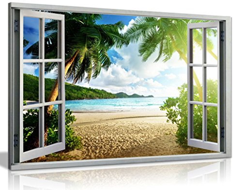 Beach Sunset View 3D Window Effect Canvas Wall Art Picture Print (30x20in)