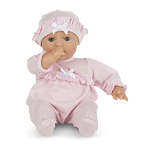 "Melissa & Doug Mine to Love Jenna 12-Inch Soft Body Baby Doll, Romper and Hat Included, Wipe-Clean Arms & Legs, 12.5"" H x 7.2"" W x 4.7"" L"