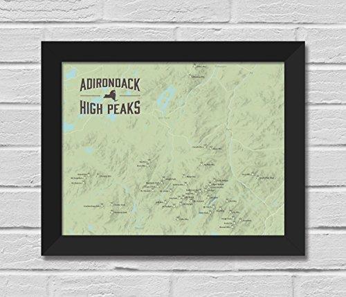 Best Maps Ever Adirondack High Peaks Map FRAMED 11x14 Print (Sage | Black)