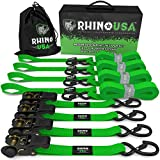 "RHINO USA Ratchet Tie Down Straps (4PK) - 1,823lb Guaranteed Max Break Strength, Includes (4) Premium 1"" x 15' Rachet Tie Downs with Padded Handles. Best for Moving, Securing Cargo (GREEN)"