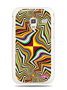 GRÜV Premium Case - 'Psychadelic Funky Rainbow Waves' Design - Best Quality Designer Print on White Hard Cover - for Samsung Galaxy Ace Plus S7500
