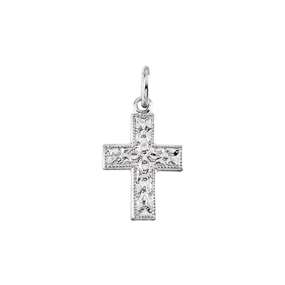 14k White Gold Small Cross Pendant 10x7.5mm