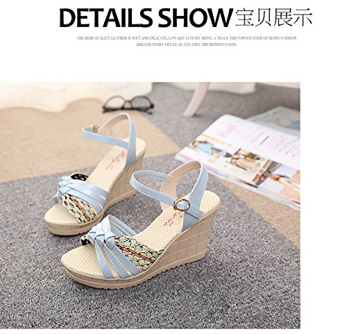 Gaorui Women Summer Sandals Wedges Platform High Heels Pumps Ankle Strap Buckle Shoes Pink j1Mx6k7F