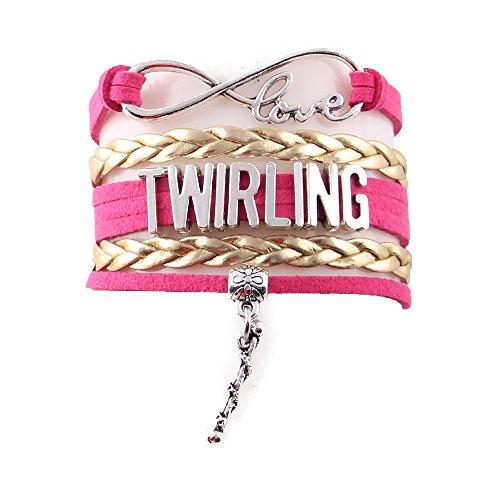 Infinity Love Baton Twirling Bracelet (Gold-Pink) - Twirling Jewelry - Baton Twirler Gift - Twirling Gift - Majorette Jewelry - Majorette Gift