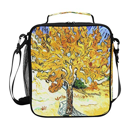 Mulberry Tree Plant Oil Painting Yellow Blue Lunch Bag Womens Insulated Lunch Tote Containers Zipper Square Lunch Box for Kids Men Adults Boys ()