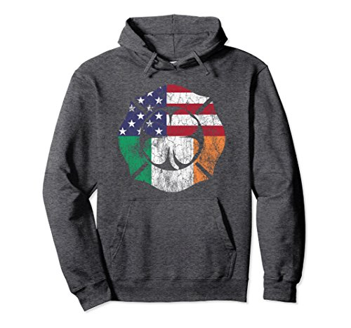 Unisex St. Patrick's Day Hoodie Firefighter Irish American Flag Large Dark - Sunglasses Firefighter