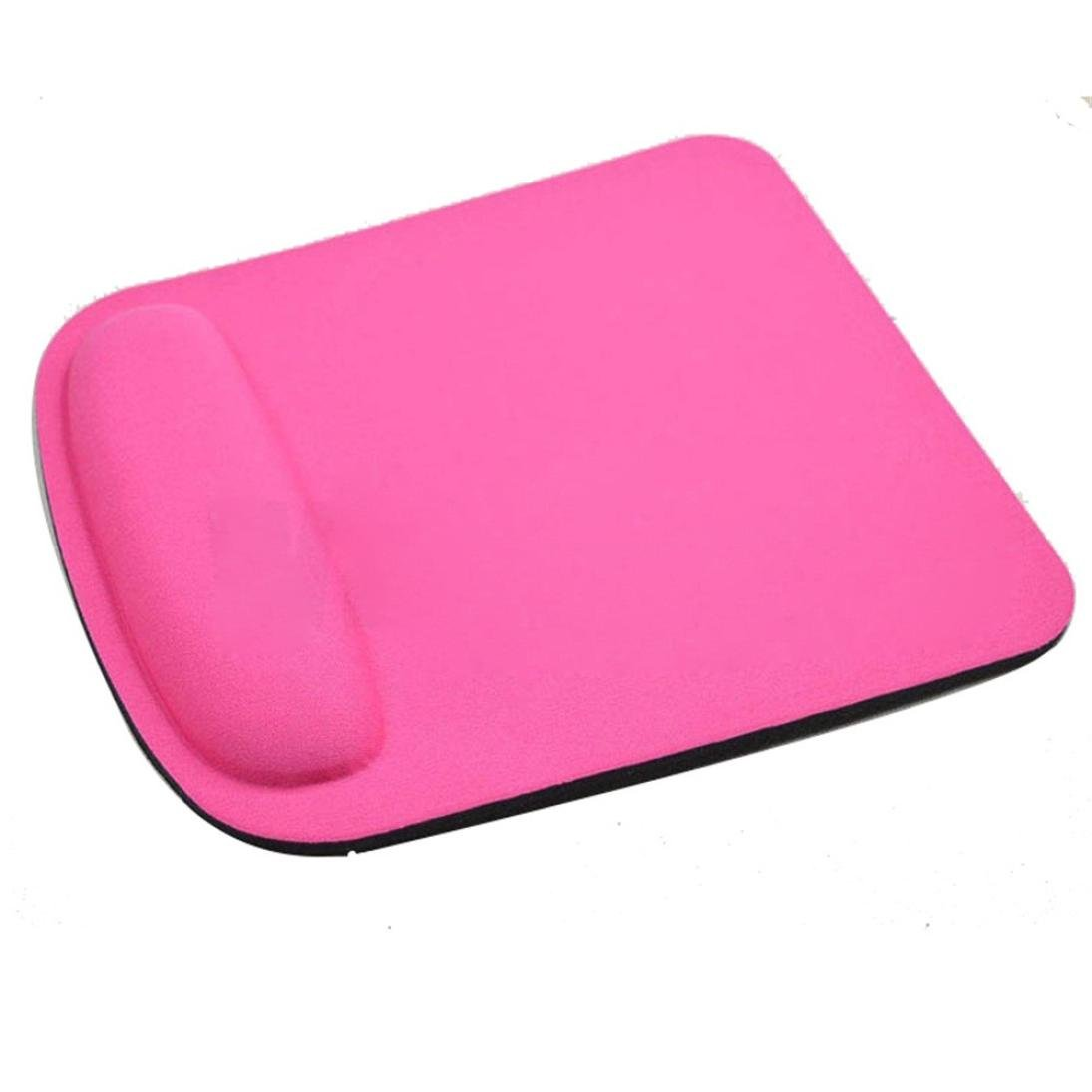 Coohole Gel Wrist Rest Support Game Mouse Mat Anti-slip Pad for Computer PC Laptop (Hot Pink 1, A)