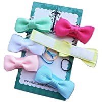 Small Mini Hair Bows for Baby Girls, Made with VELCRO® brand fasteners Hair bows, cute mini hairbows, Tiny small baby hair bows