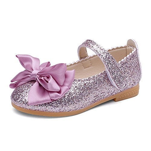 CIOR Toddler Girls Ballet Flats Shoes Beaded Rhinestone Ballerina Bowknot Mary Wedding for Party Princess Dress from Merence,VGZ01,G.Purple,28