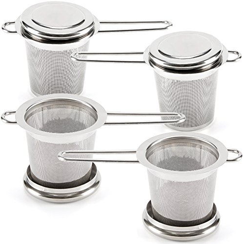 EZOWare Tea Infusers for Loose Leaf Tea [Set of 4] Stainless Steel Fine Mesh Tea Strainer with Handle and Lid, Reusable Tea Steeper for Tea Pot, Cup, Mug