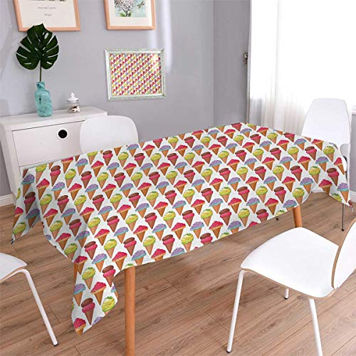Anmaseven Ice Cream Oblong Dinning Tabletop Decor Tasty Summer Desserts Refreshments Soft and Sweet Food Frosting Various Flavors Table Cover for Kitchen Multicolor Size: W70 x L90