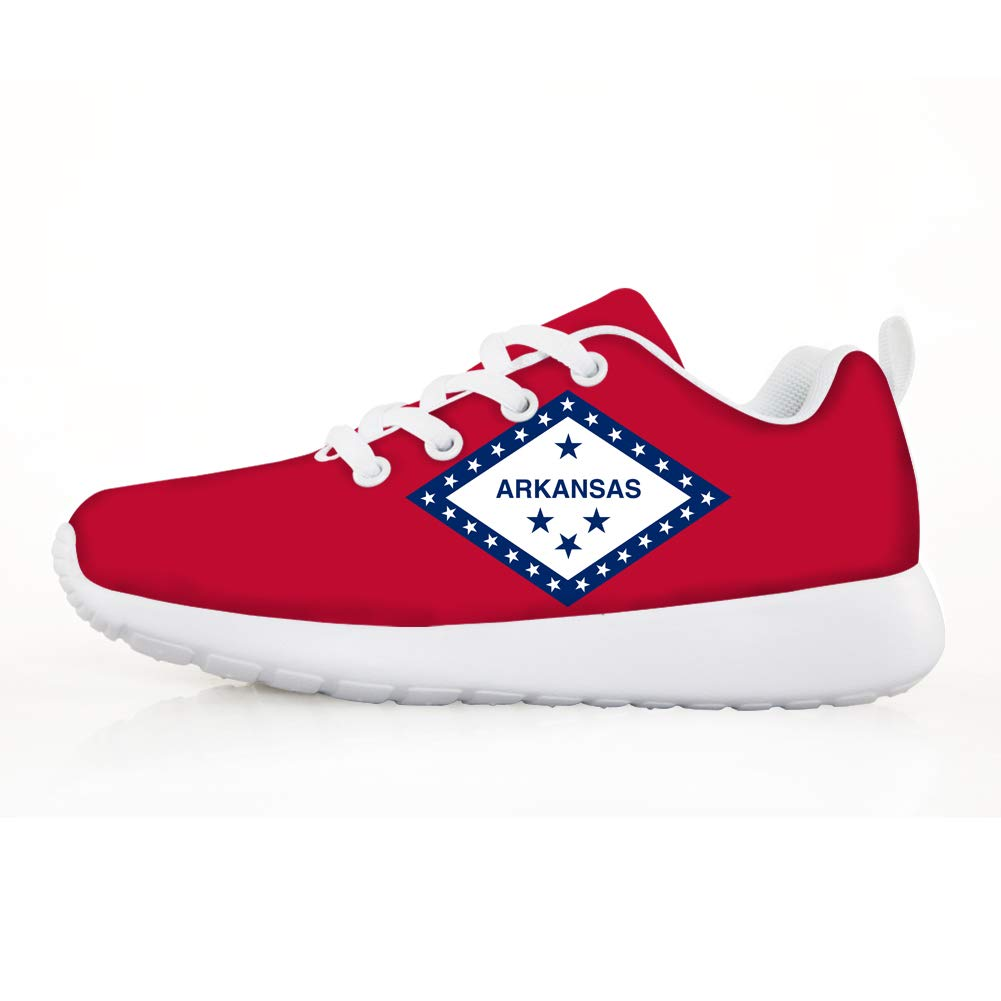 Owaheson Boys Girls Casual Lace-up Sneakers Running Shoes Free State Arkansas Flag