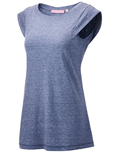 Regna X Women's Sleeveless Summer Casual Tunic Scooped Triblend Tank top Blue L