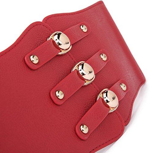 "Syuer Womens Wide Elastic Cinch Belt Waist Trimmer Stretch Buckle Belt (L-XL (31""-35""), Red)"