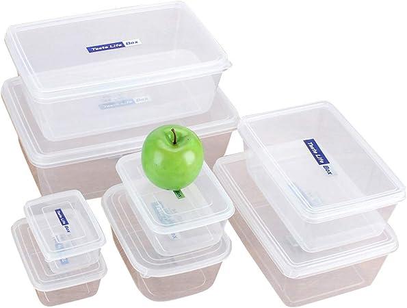 Cvthfyk Rectangular Transparente De Plástico Contenedores de Almacenamiento de Cocina Refrigerador Alimentos Refrigerado Caja de Almacenamiento Caja de Almacenamiento Conjunto (Color : K1102 500ml): Amazon.es: Hogar