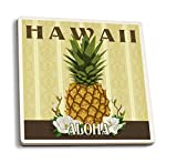 Lantern Press Hawaii - Aloha - Colonial Pineapple (Set of 4 Ceramic Coasters - Cork-backed, Absorbent)
