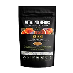 Organic Red Reishi Mushroom Extract Powder (4oz / 114gm) 20:1 Concentration (Ganoderma Lucidum, Lingzhi) Pure Wildcrafted, Certified Organic, Vegan, Non-gmo, Gluten-free