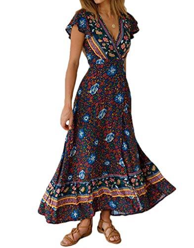 Exlura Women's Summer Boho Floral Printed V-Neck Faux Wrap Short Sleeve Split Maxi Dress with Belt Navy