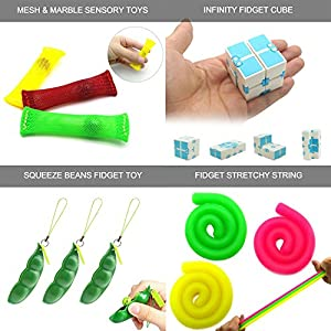 13 Pack Bundle Sensory Toys Set-Bike Chain/Balls/Infinity Magic Cube/Liquid Motion Timer/Fidget Stretchy String/Mesh and Marble Toy/Squeez Beans Stress Relax Toys for ADD/ADHD