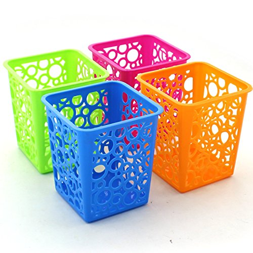 Zicome Set of 4 Desktop Office Storage Organizer - Creative Square Hollow Circle Design Pen Pencil Holder Organizer Basket in 4 Bright Colors